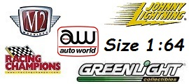 GreenLight Collectibles, Johnny Lightning, M2 Machines, racing Champions, Auto World 1:64 models