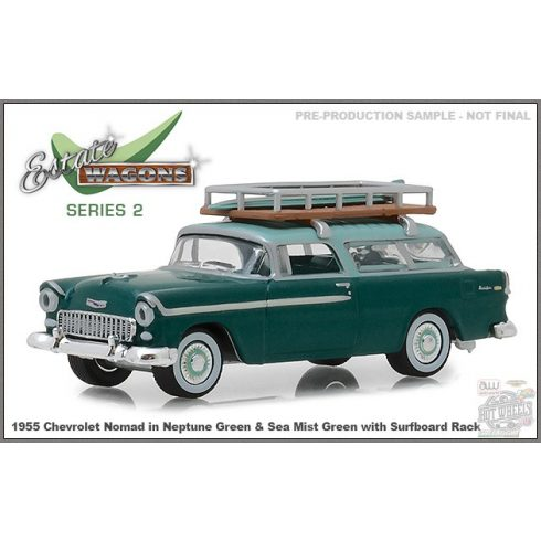 GREENLIGHT Estate Wagons Series 2 1955 Chevrolet Nomad with Surfboard Rack, neptune green 1:64